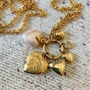 Carolee Multi-Heart Necklace with Locket